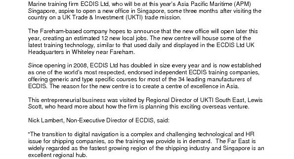thumbnail of ECDIS set to sail to new base after Asia Pacific Maritime (APM)  Centre of excellence due to open in Asia (Singapore PR)