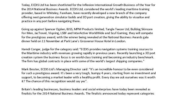 thumbnail of JULY 2014 – PRESS RELEASE – ECDIS LTD ANNOUNCED AS NATIONAL BUSINESS AWARDS FINALISTS